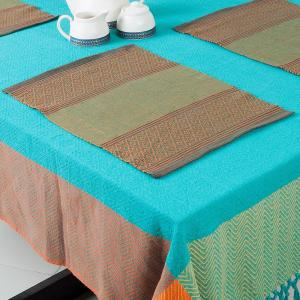 green-cotton-woven-mirania-table-mat-set-of-6 - table-linen-and-accessories