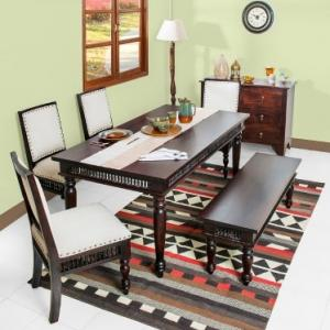 sheesham-wood-amer-upholstered-chair - dining-tables-and-chairs
