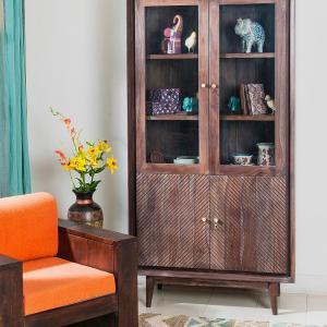 sheesham-wood-glass-liniya-cabinet - storage-and-shelves