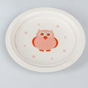 orange-ceramic-owl-printed-snacks-plate - kids-dining