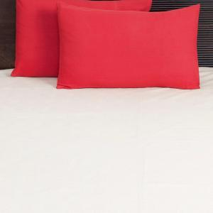 red-cotton-woven-plain-pillow-cover - bed-linen