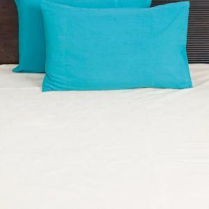 blue-cotton-woven-plain-pillow-cover - bed-linen