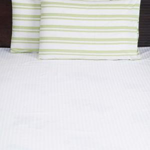 green-cotton-woven-broad-way-stripe-pillow-cover - bed-linen