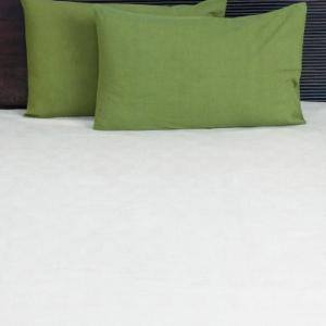 green-cotton-woven-plain-pillow-cover - bed-linen