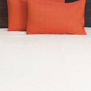 orange-cotton-woven-plain-pillow-cover - bed-linen