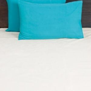 blue-cotton-woven-plain-pillow-cover - bed-linen