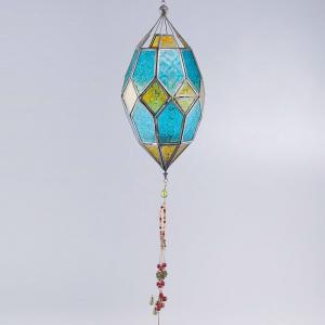 metal-glass-mosaic-hanging-lantern - lanterns